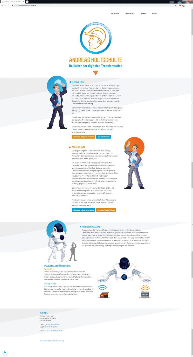 Bauleiter der Zukunft, Screendesign Landingpage